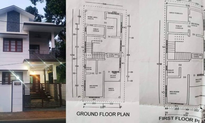 1400 Sq Ft 3BHK Two Floor House and Plan at 3.5 Cent Plot, Budget 18 Lacks