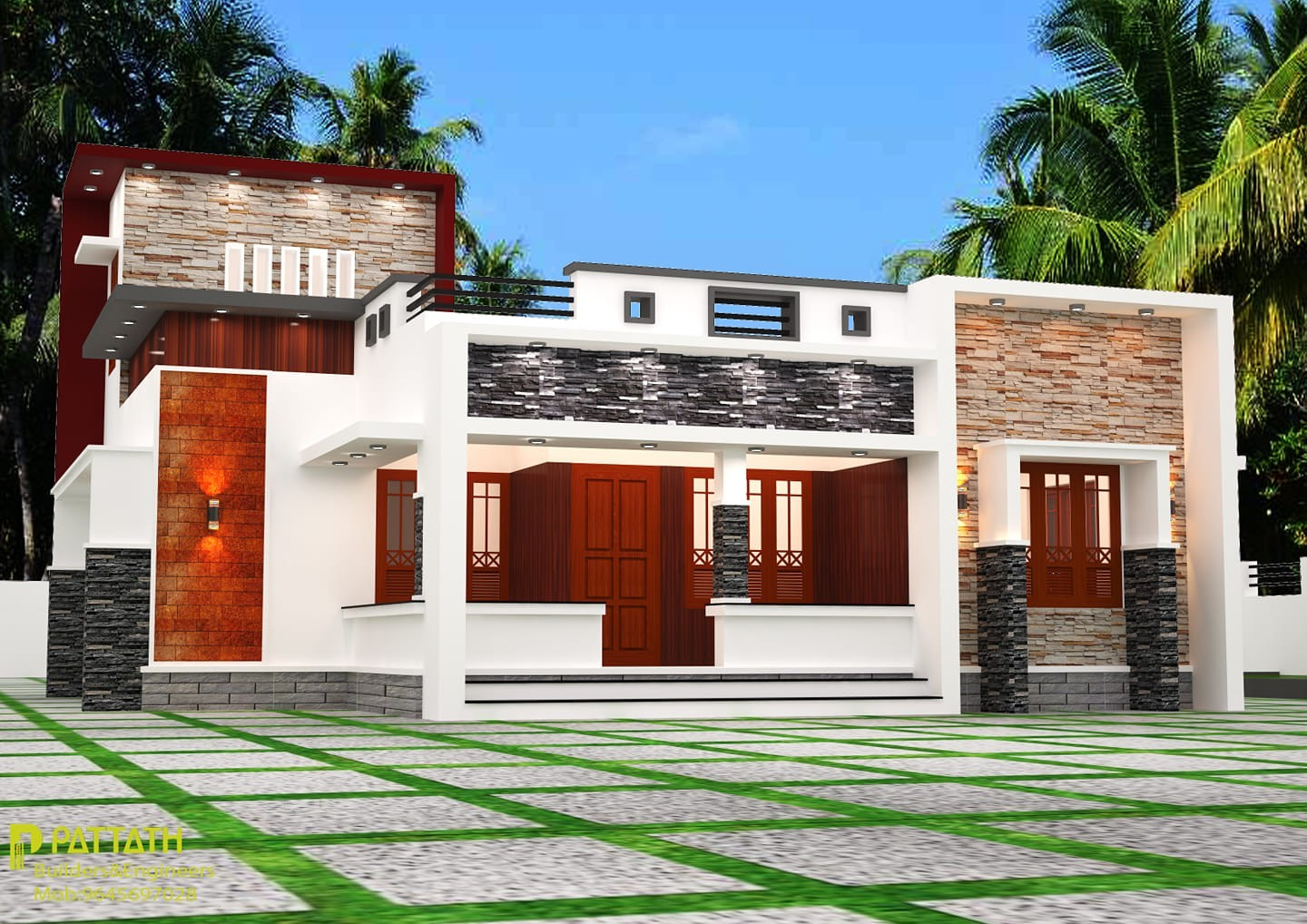1458 Sq Ft 3BHK Contemporary Style Single Storey House and Plan