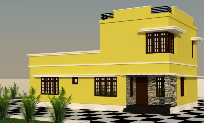 1508 Sq Ft 3BHK Modern Double-Storey House and Plan