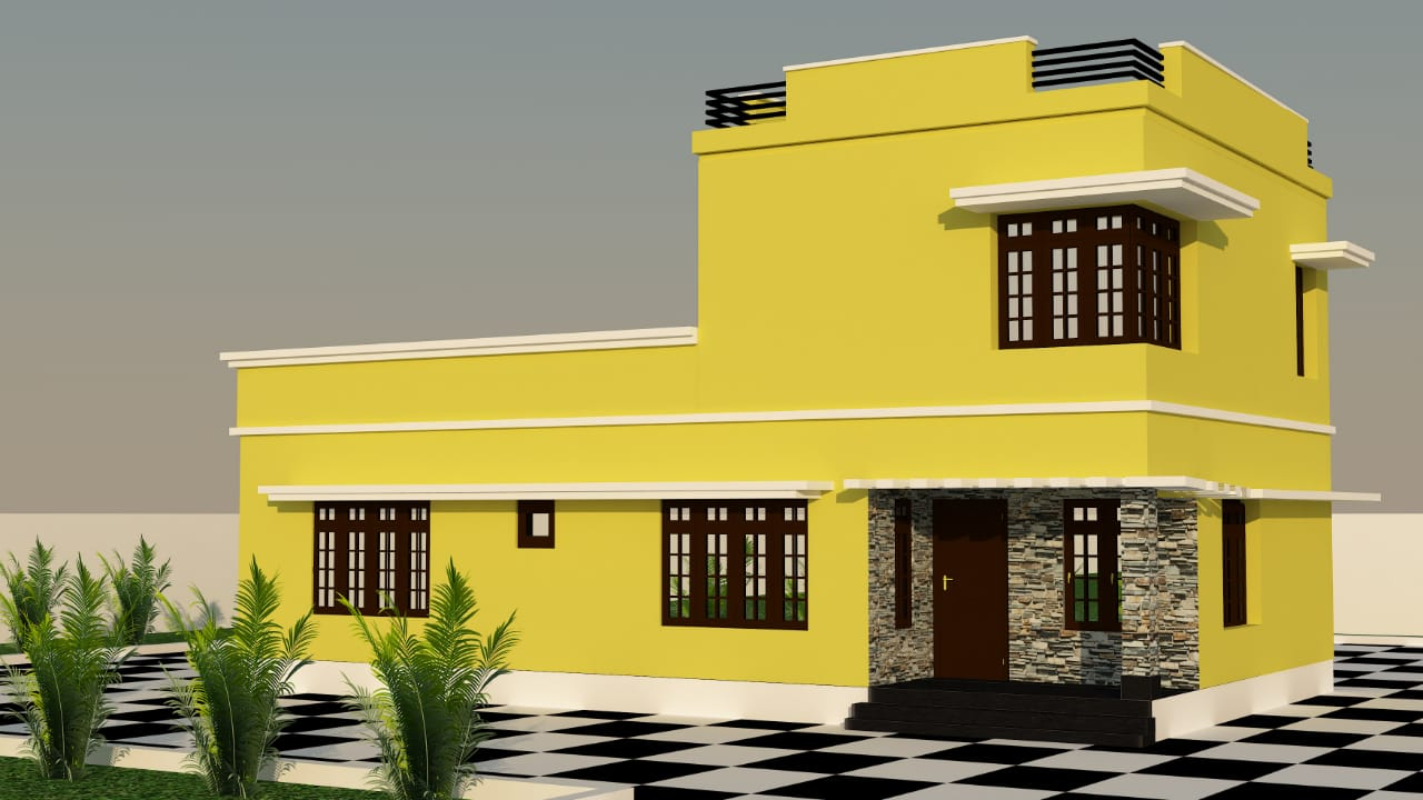 1508 Sq Ft 3BHK Modern Single-Storey House and Plan