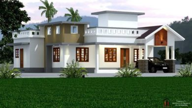 Photo of 1530 Sq Ft 3BHK Semi Contemporary Style Single-Storey House and Plan