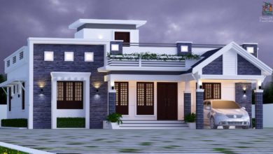 Photo of 1600 Sq Ft 3BHK Mixed Roof Modern Single-Storey House and Plan