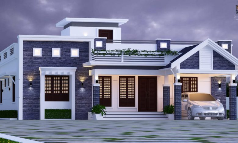 1600 Sq Ft 3BHK Mixed Roof Modern Single-Storey House and Plan