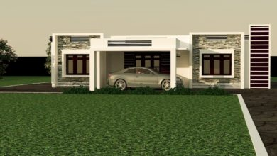 Photo of 1637 Sq Ft 3BHK Contemporary Style Single Floor Modern House and Plan