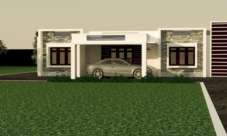1637 Sq Ft 3BHK Contemporary Style Single Floor Modern House and Plan