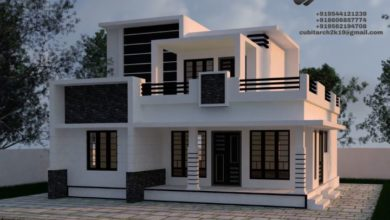 Photo of 1648 Sq Ft 3BHK Contemporary Style Two Floor House and Plan