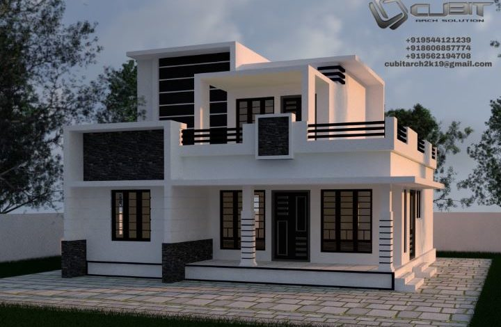 1648 Sq Ft 3BHK Contemporary Style Two Floor House and Plan