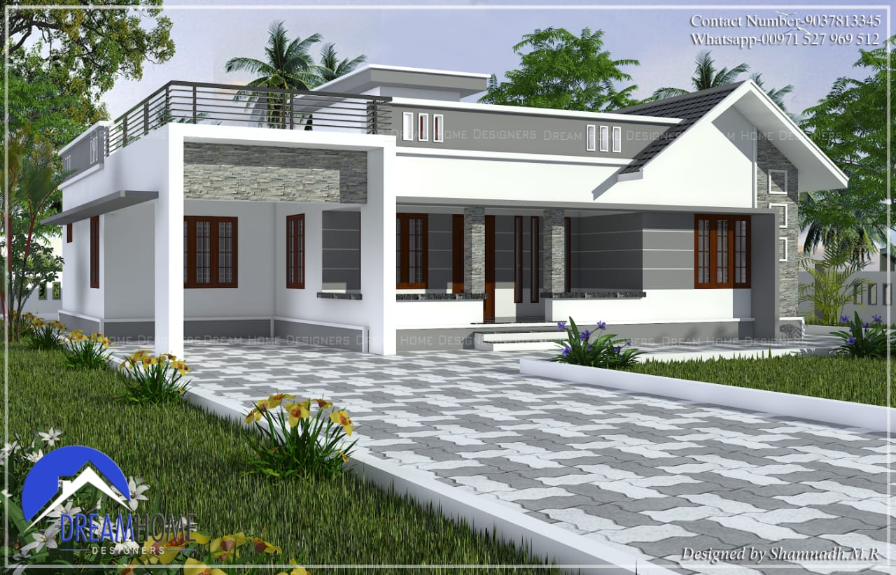 1686 Sq Ft 3BHK Contemporary Mixed Roof Modern House and Plan, 18 Lacks