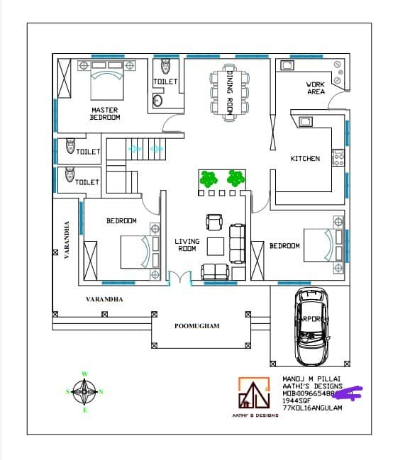 1944 Sq Ft 3BHK Traditional Style Single Floor Beautiful House and Plan