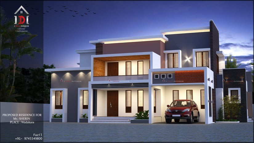 2203 Sq Ft 4BHK Contemporary Style Two Storey House and Plan