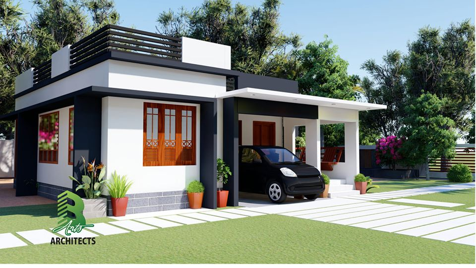 708 Sq Ft 2BHK Single-Storey Beautiful Modern House at 6 Cent Plot