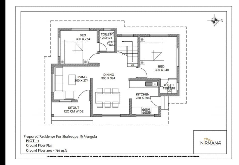 750 Sq Ft 2BHK Single Floor Contemporary Style House and Plan