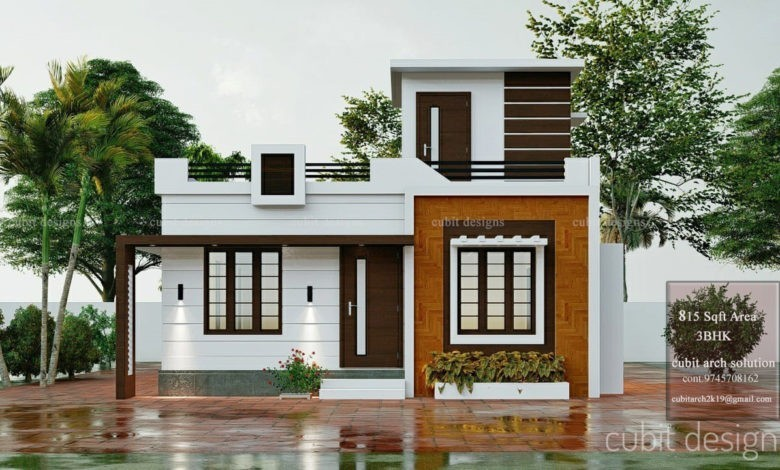 815 Sq Ft 3BHK Single-Storey Beautiful House and Plan