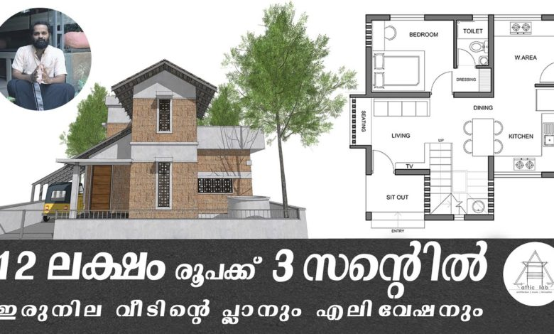 833 Sq Ft 2BHK Two Floor House and Plan at 3 Cent, Budget 12 Lacks