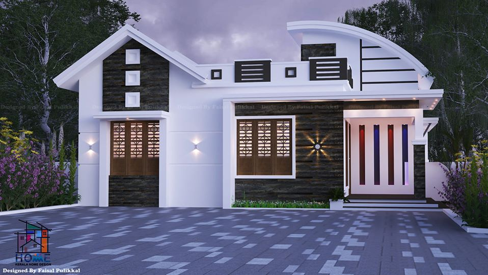 836 Sq Ft 2BHK Contemporary Style Single Storey Modern House