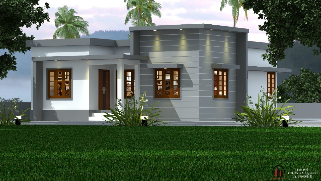 960 Sq Ft 2BHK Semi Contemporary Style Single Floor House and Plan