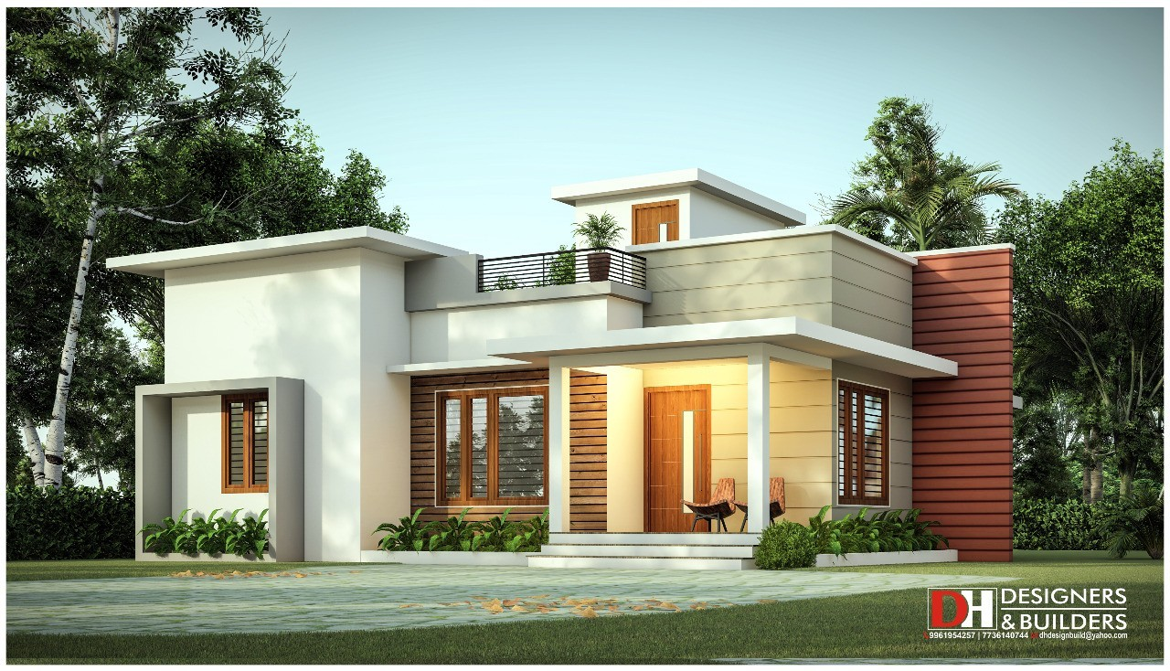 974 Sq Ft 2BHK Simple Single-Storey Beautiful House and Plan