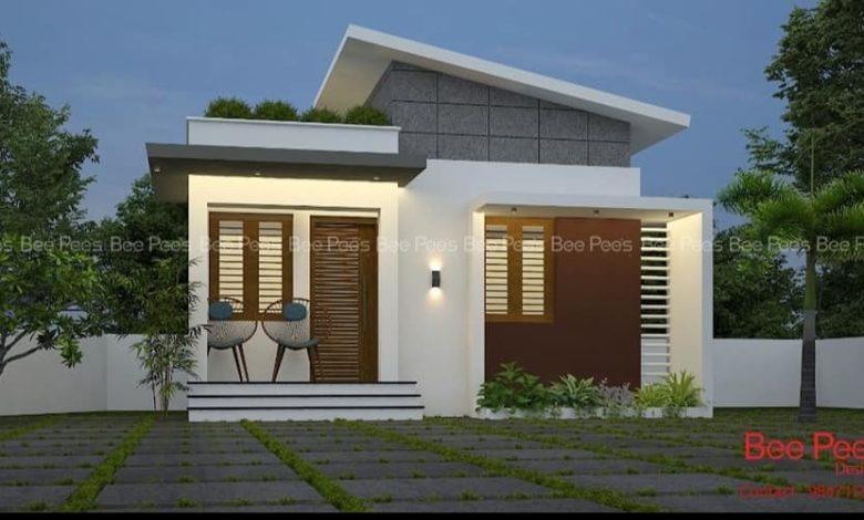 984 Sq Ft 3BHK Contemporary Style Single-Storey House and Plan