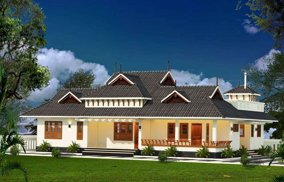 Kerala Traditional Style 4 Bedroom Single-Storey Beautiful House and Plan