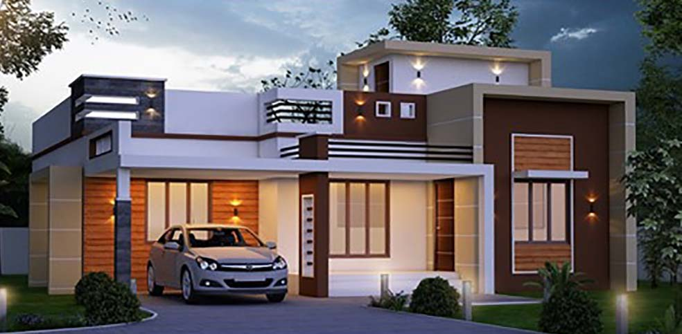 1000 Sq Ft 2BHK Contemporary Style Modern Single-Storey House and Free Plan