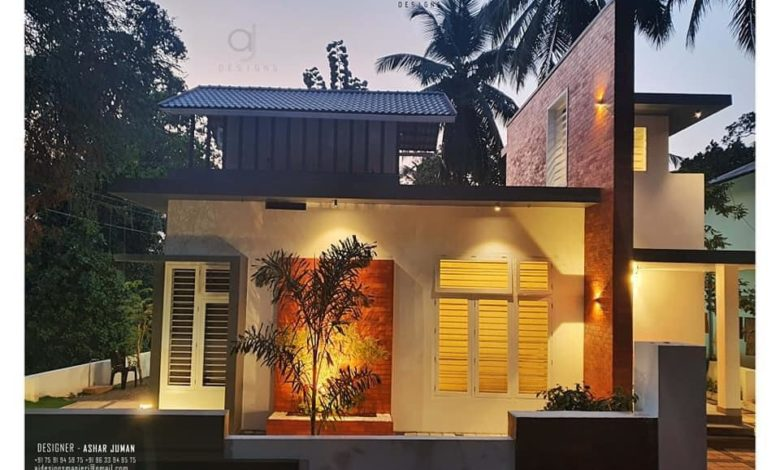 1000 Sq Ft 2BHK Contemporary Style Single-Storey House and Free Plan