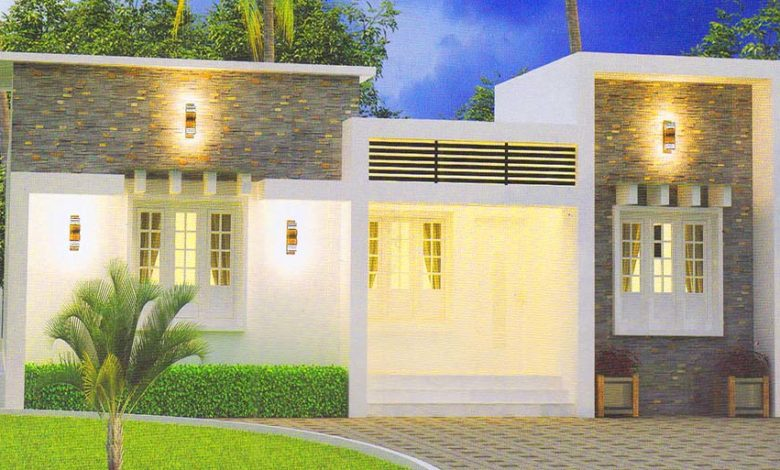 1000 Sq Ft 3BHK Contemporary Single-Storey House and Plan