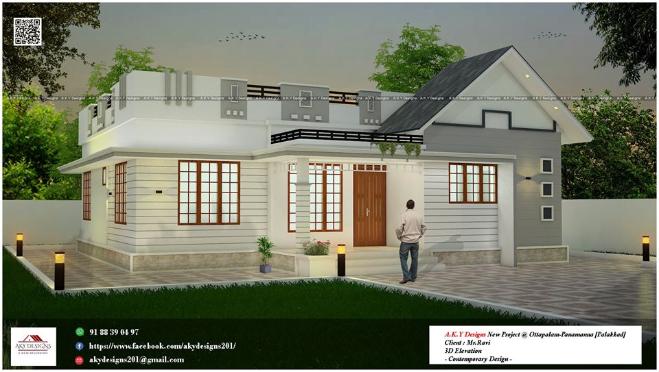 1000 Sq Ft 3BHK Single-Storey Beautiful House and Free Plan
