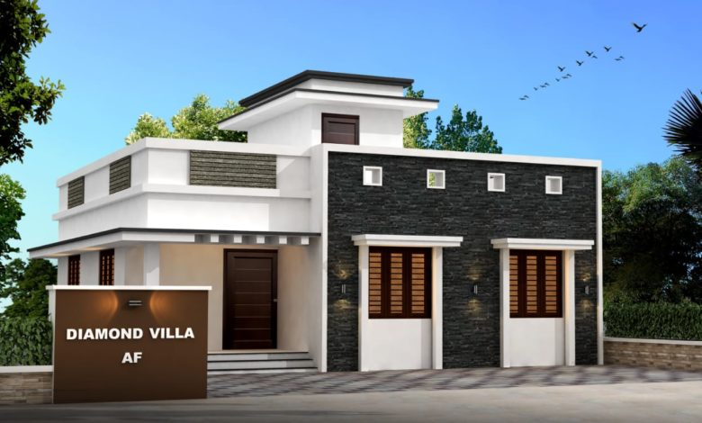 1009 Sq Ft 3BHK Contemporary Style Single Floor House and Free Plan
