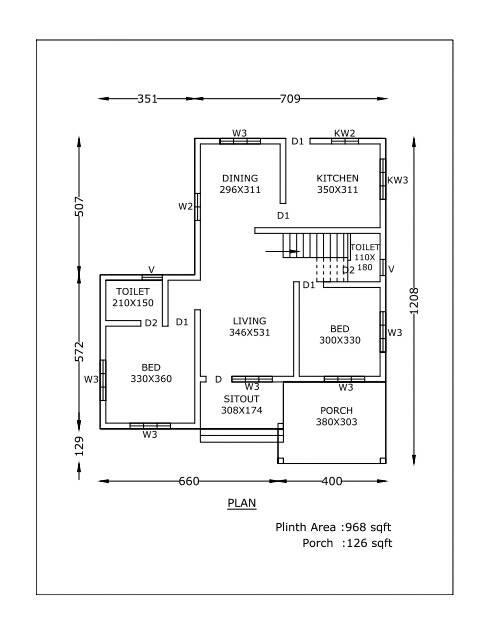 1094 Sq Ft 2BHK Single Floor Beautiful House and Free Plan