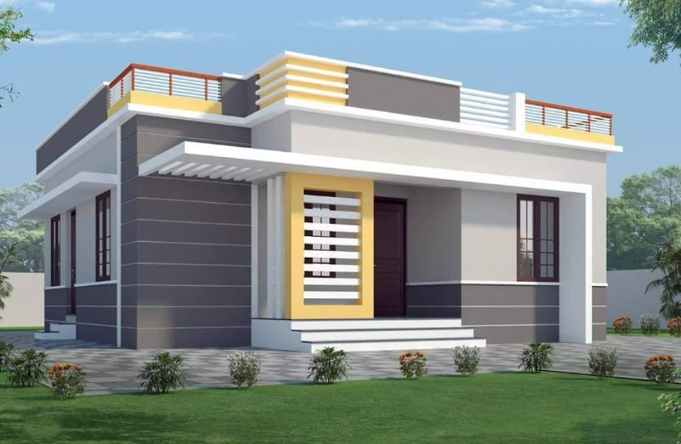 1100 Sq Ft 3BHK Contemporary Style Single-Storey House and Plan, 16.50 Lacks