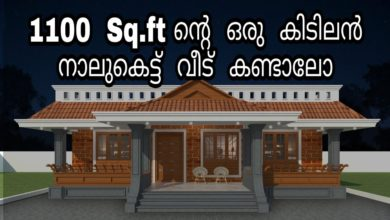 Photo of 1100 Sq Ft 3BHK Traditional Style Nalukettu Model House and Plan