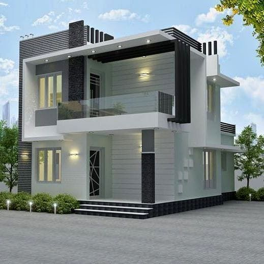 1195 Sq Ft 3BHK Contemporary Style Two-Storey House and Free Plan