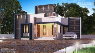 Photo of 1200 Sq Ft 3BHK Contemporary Style Single Floor House and Plan