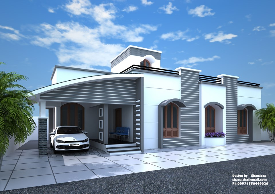 1350 Sq Ft 2BHK Modern Single-Storey House and Plan at 6.75 Cent Land