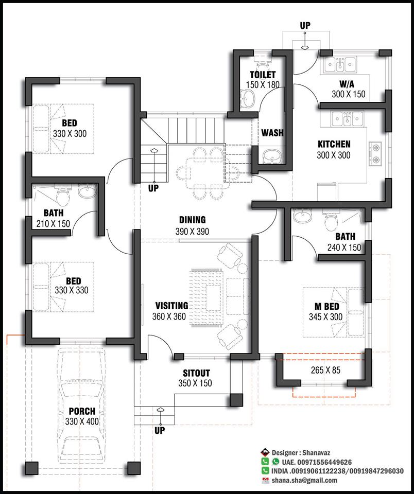 1365 Sq Ft 3BHK Modern and Beautiful House at 6 Cent Plot, Free Plan