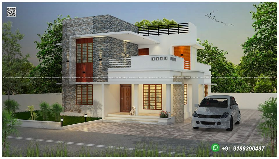 1420 Sq Ft 3BHK Contemporary Style Two-Storey House and Free Plan