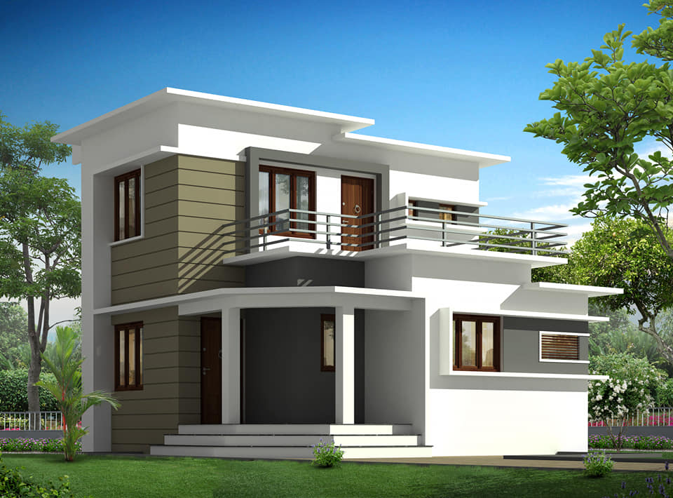 1510 Sq Ft 3BHK Contemporary Style Two-Storey House and Plan