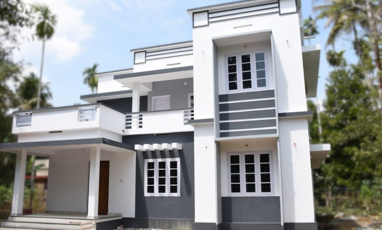 1590 Sq Ft 4BHK Contemporary Style Two-Storey House at 5.2 Cent Land