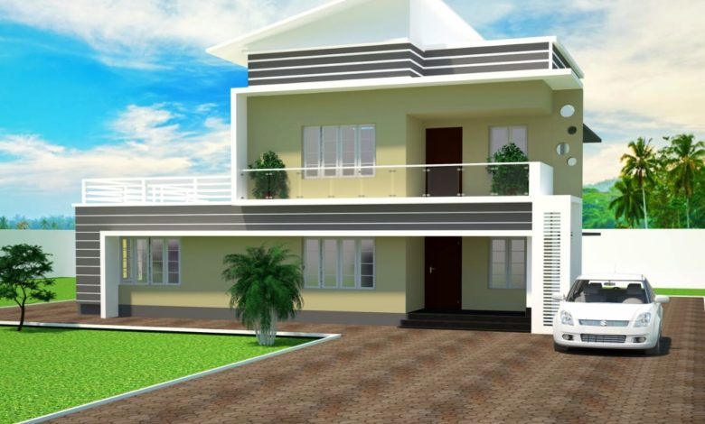 1684 Sq Ft 3BHK Contemporary Style Two-Storey House and Plan
