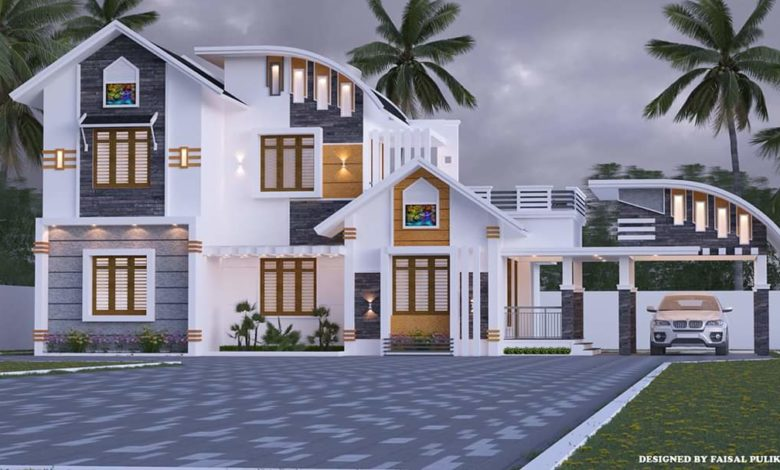 1800 Sq Ft 3BHK Contemporary Style Modern Two-Storey House