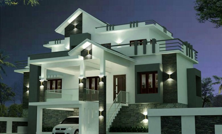 1814 Sq Ft 3BHK Contemporary Style Two-Storey House and Plan