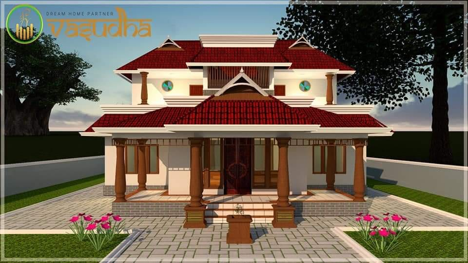 2000 Sq Ft 4BHK Traditional Style Nalukettu House and Free Plan