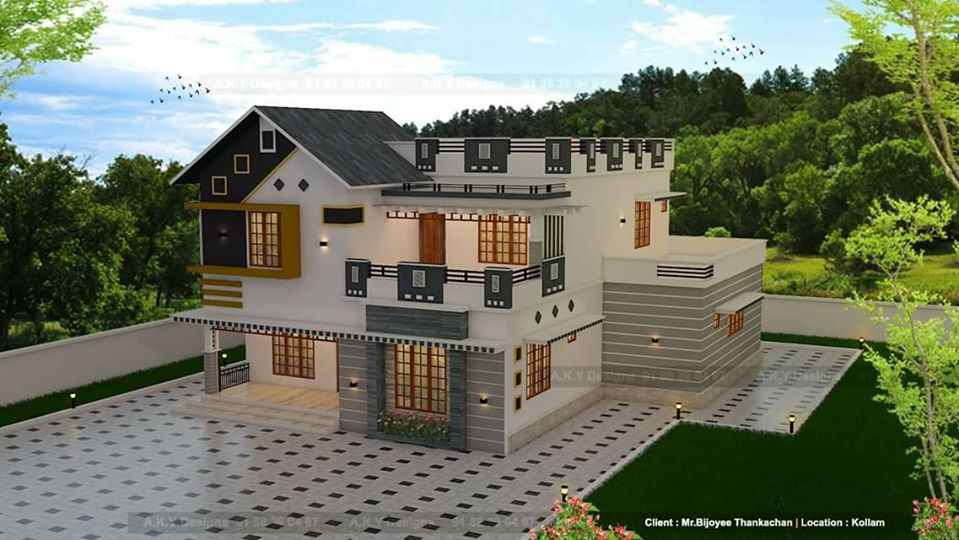 2319 Sq Ft 5BHK Contemporary With Slope Roof Design Home and Free Plan