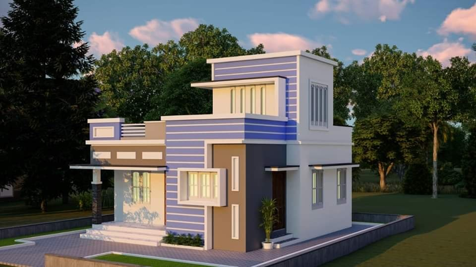 730 Sq Ft 2BHK Contemporary Style Single-Storey House and Plan