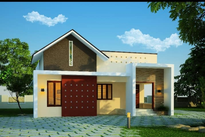 900 Sq Ft 2BHK Contemporary Style Single Floor House and Free Plan