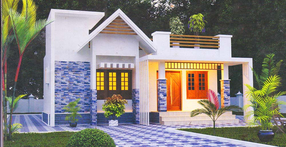 916 Sq Ft 2BHK Contemporary Style Single Floor House and Free Plan