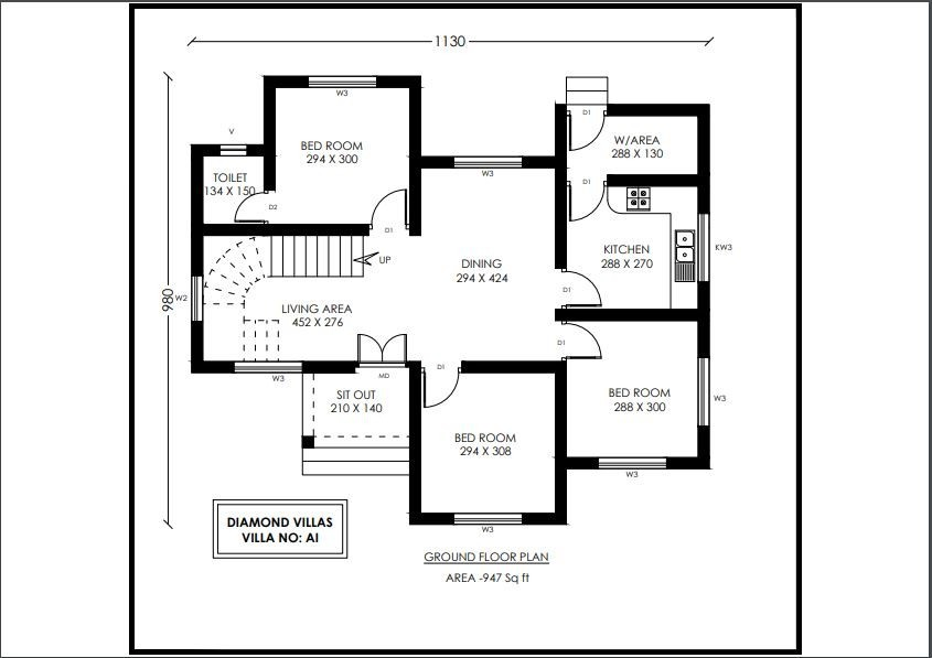 947 Sq Ft 3BHK Contemporary Style Single-Storey House and Free Plan