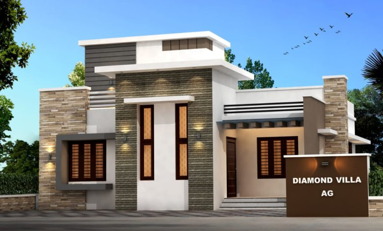 956 Sq Ft 3BHK Contemporary Style Single-Storey House and Free Plan