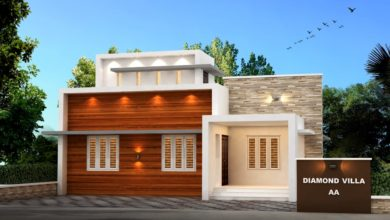 Photo of 956 Sq Ft 3BHK Fusion Style Single Storey House and Plan