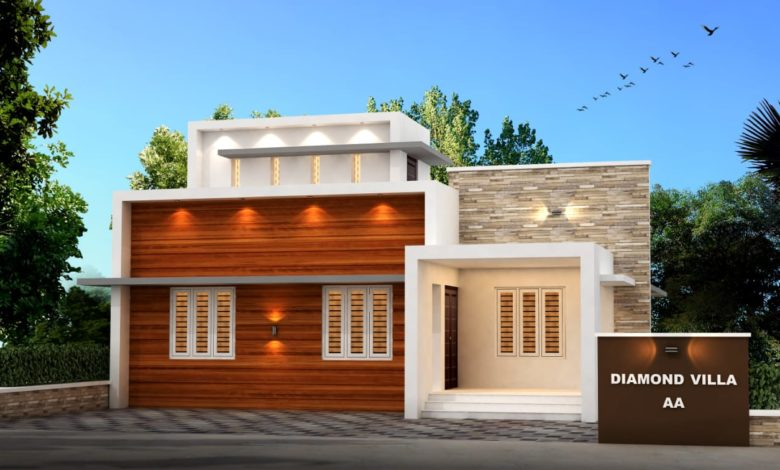 956 Sq Ft 3BHK Fusion Style Single Storey House and Plan
